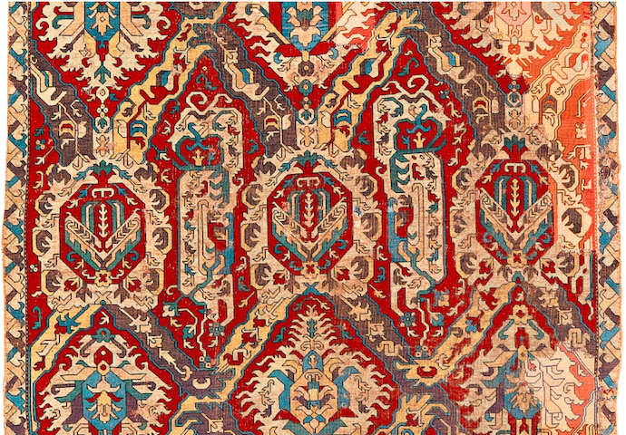 Sotheby's Oct 22 2014 NYC auction 18c Dragon carpet - Crocker family -Detail