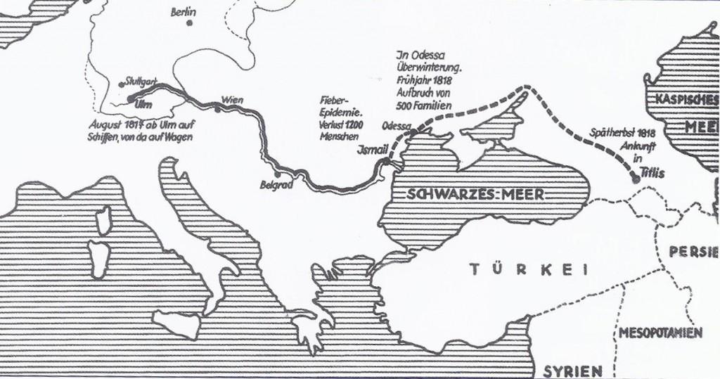 Путь главной колонии переселенцев в Кавказ 1817-1818 гг